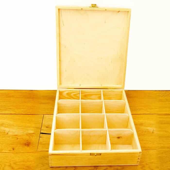 Baak Detailhandel Thee Kistje Hout 25x30cm Geopend 12 Vakken