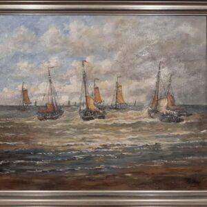 Baak Detailhandel Schilderij Toon Van Asten Olieverf Op Linnen Bomschuiten In Scheveningen Op Weg Naar Zee