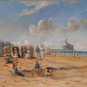 Baak Detailhandel Schilderij Toon Van Asten Olieverf Op Linnen Strandtafereel In Scheveningen Omstreeks 1910 2