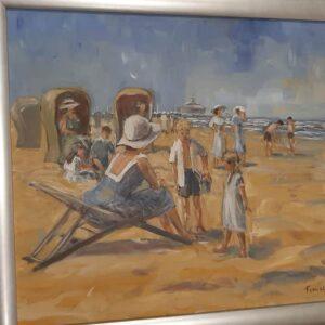 Baak Detailhandel Schilderij Toon Van Asten Olieverf Vakantie Op Het Strand Van Scheveningen 69x59