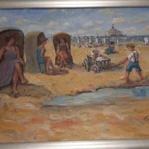 Baak Detailhandel Schilderij Toon Van Asten Olieverf Vakantie Op Het Strand Van Scheveningen 79x59